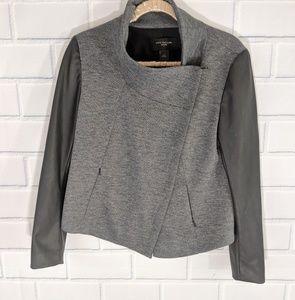 Ann Taylor Gray/Black Leather Asymmetric Jacket